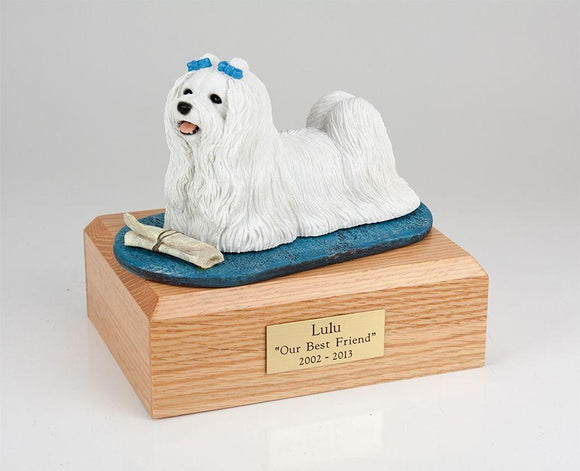 Maltese Laying With Paper Dog Figurine Urn Ever My Pet