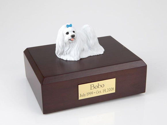 Maltese Blue Ribbon Dog Figurine Dog Urn