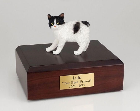 Cat Manx (Black & White) Cat Figurine Urn