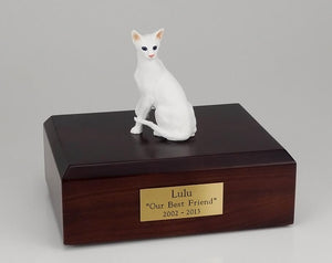 Cat Oriental Short Hair White Sitting Cat Figurine Urn Ever My Pet