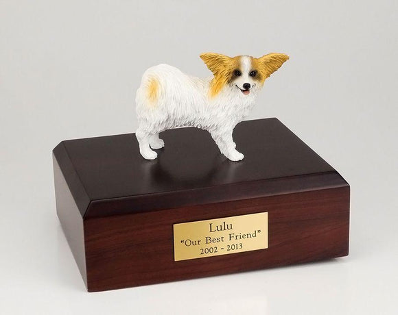 Papillon Brown and White Dog Figurine Urn Ever My Pet