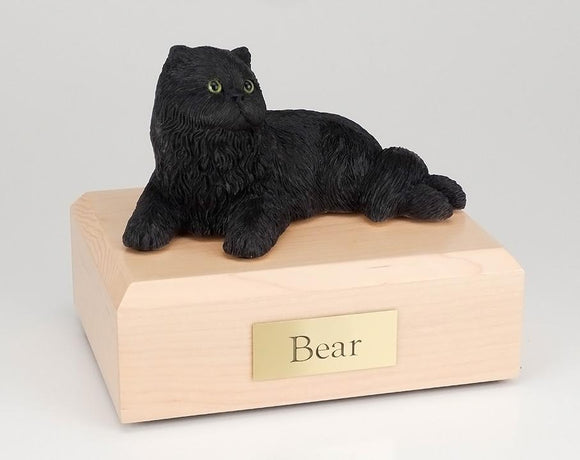 Cat Persian (Black) Laying Figurine Cat Cremation Urn