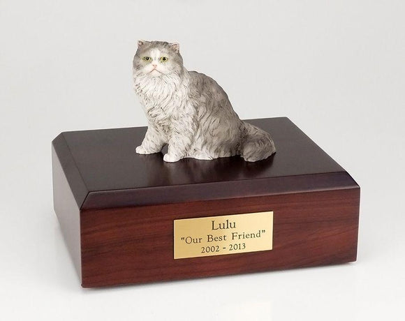 Cat Persian (Gray) Sitting Figurine Cat Urn