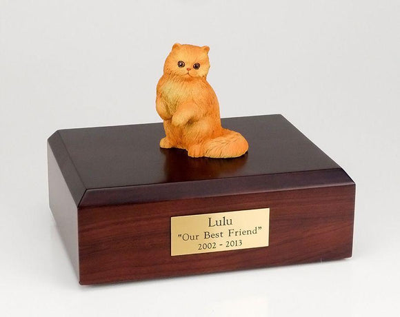 Cat Persian (Red) Sitting Figurine Cat Cremation Urn