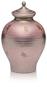 Pink Adult Cremation Urn Silver Butterfly