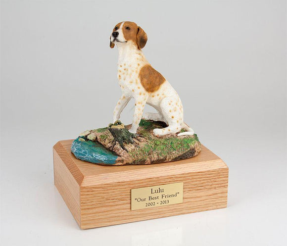 Pointer Sitting Brown and White Dog Figurine Urn Ever My Pet