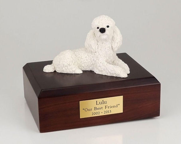 Poodle Laying White Figurine Dog Urn Ever My Pet
