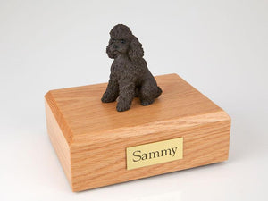 Poodle Sitting Sport Cut Chocolate Dog Figurine Urn Ever My Pet