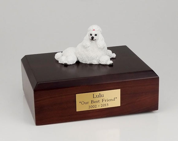 Poodle Laying Show Cut White Dog Figurine Urn Ever My Pet