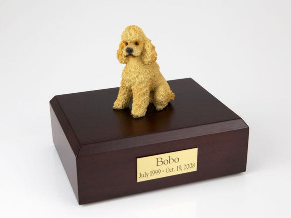 Poodle Sitting Sport Cut Apricot Dog Figurine Urn Ever My Pet
