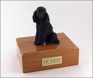 Poodle Sitting (Black) Dog Figurine Urn