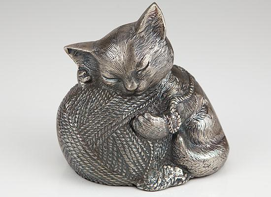 Precious Kitty Silver Cat Cremation Urn