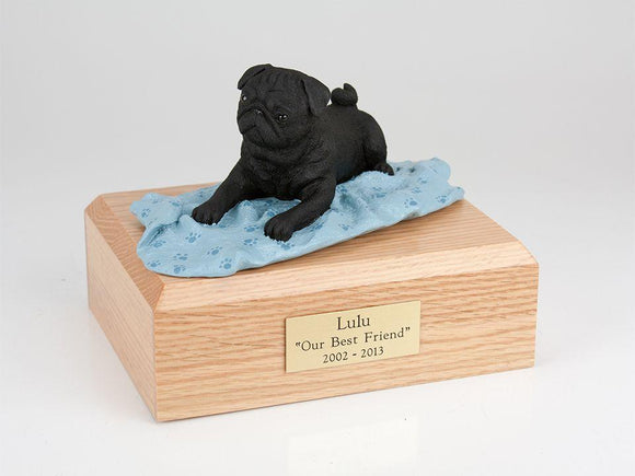 Pug Laying On Blanket (Black) Dog Figurine Urn