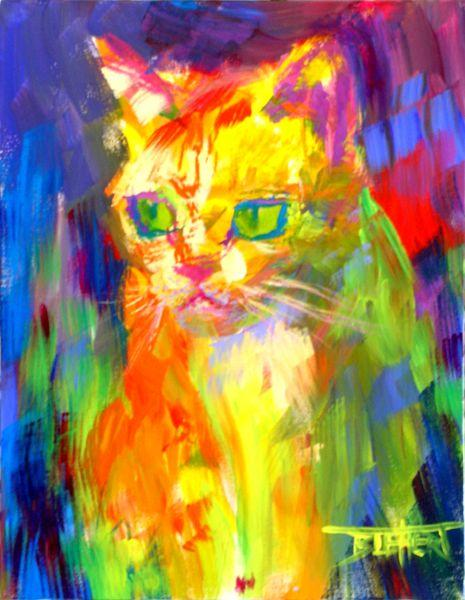 Cat Portrait On Canvas