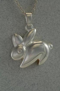 Bunny Rabbit Pet Cremation Jewelry Urn Pendant Silver