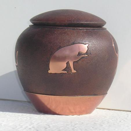 Sable Inlaid Brass Cat Pet Urn