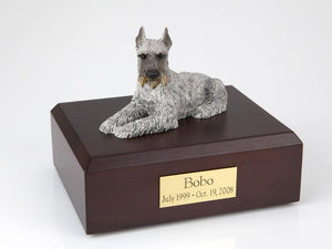 Schnauzer Laying Silver Figurine Dog Urn Ever My Pet
