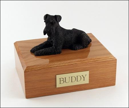 Schnauzer Laying (Black) Figurine Dog Urn