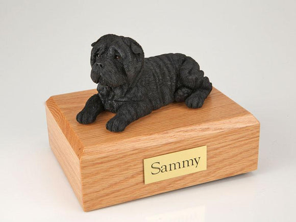 Shar Pei Laying Black Dog Figurine Urn Ever My Pet