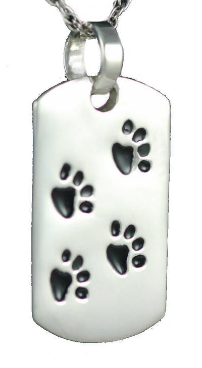 Dog Tags Paw Print Sterling Silver Cremation Jewelry