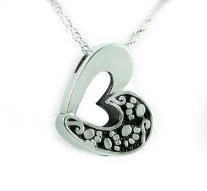 Paw Print Sterling Silver Cremation Jewelry Heart Pendant Urn