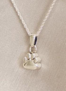 Paw Pendant Cremation Jewelry Urn Silver With Engraving