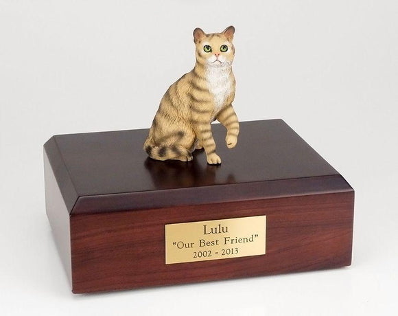 Cat Tabby Brown Short Hair Sitting Up Figurine Urn Ever My Pet