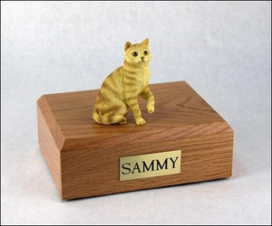 Cat Tabby (Red) Short Hair Sitting Up Figurine Cat Urn
