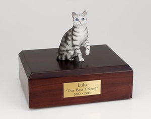 Cat Tabby Silver Short Hair Sitting Up Figurine Cat Urn Ever My Pet
