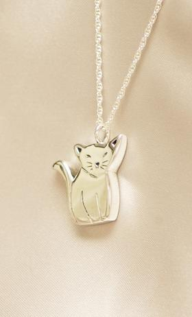 Whimsical Cat Cremation Jewelry Urn Pendant, Silver