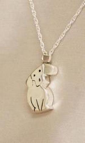 Whimsical Dog Cremation Jewelry Urn Pendant Silver