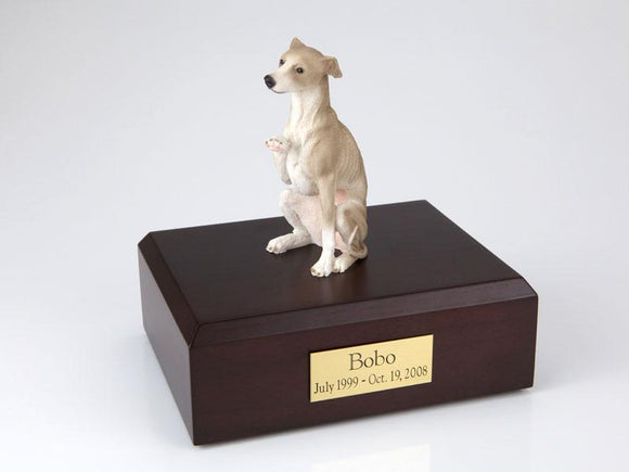 Whippet Sitting Gray Spotted Dog Figurine Urn Ever My Pet