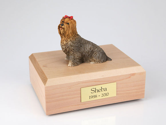 Yorkshire Terrier Sitting With Red Bow Brown Dog Figurine Urn