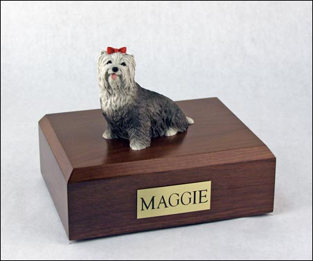 Yorkshire Terrier Sitting W Red Bow Gray Dog Urn
