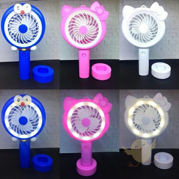 Fan USB Rechargeable With LED Light - Basics.Pk