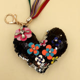 Key Chain Heart With Flower Black