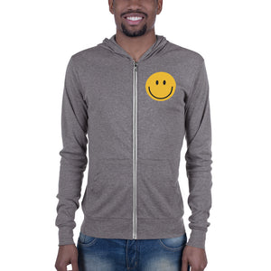 Men's smiley face emoji zip hoodie