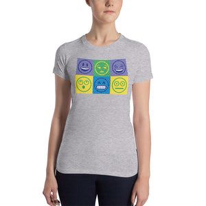 Women's slim-fit t-shirt with multiple emoji