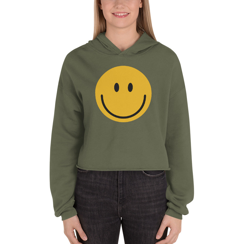 Women's smiley face emoji crop hoodie