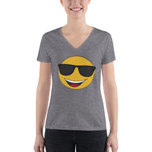 Load image into Gallery viewer, Women's sunglasses emoji v-neck tee