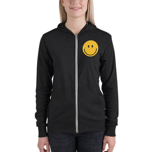 Women's smiley face emoji zip hoodie