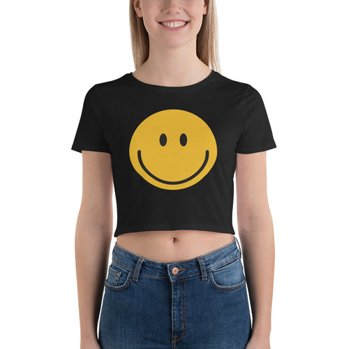 Women's smiley face emoji crop top