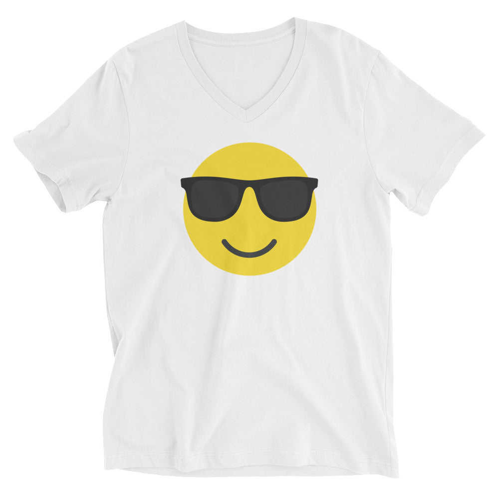 Women's sunglasses emoji v-neck tee