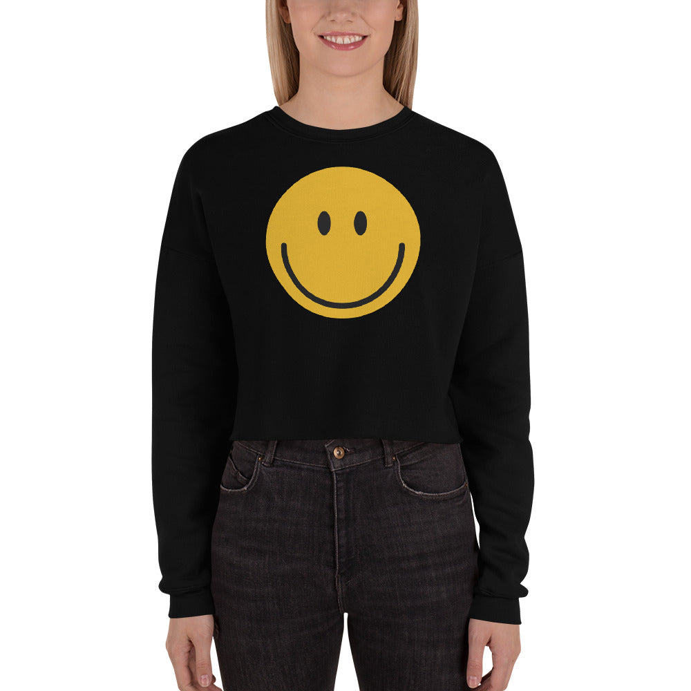 Smiley face emoji crop sweatshirt