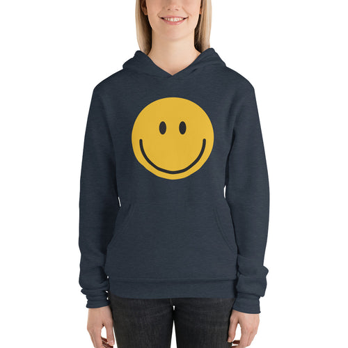 Women's smiley face emoji fleece hoodie