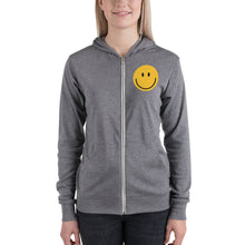 Load image into Gallery viewer, Women's smiley face emoji zip hoodie