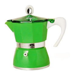 Aluminum Stove-top Green, Yellow or Red Espresso Maker 3, 6 or 9 cup