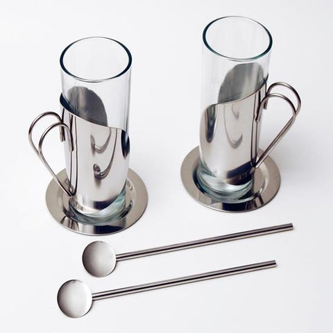 Stainless Steel Glass Cups, Set of 2 Glass Cups with Saucers and Spoons