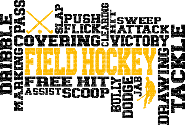 (MALE) FIELD HOCKEY WORD ART (SUBLIMATION)