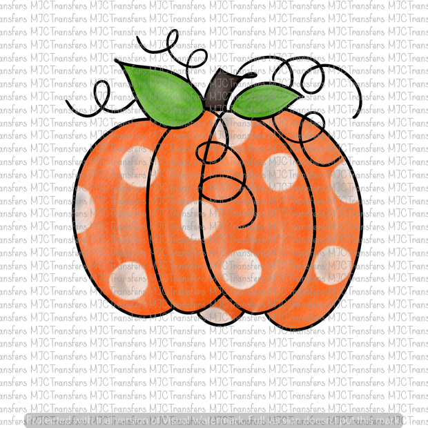 ORANGE POLKA DOT WATERCOLOR PUMPKIN